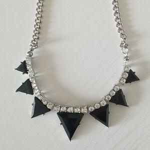 Black Glass Metal Necklace